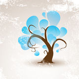 Funny vector winter tree with white snow grunge Royalty Free Stock Photography