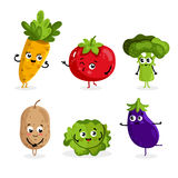 Funny vegetable characters cartoon isolated Stock Images