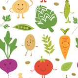 Funny vegetable characters pattern Stock Photos