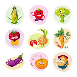 Funny Vegetable Characters Set Stock Images