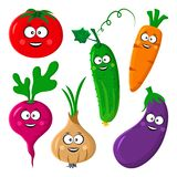 Funny vegetable emoticon. Tomato, cucumber, carrot, beetroot or radish, eggplant, onion. Vector illustration vector illustration