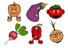 Funny vegetable icons set Stock Image
