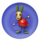 Funny vegetable rabbit on plate Royalty Free Stock Photos