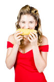 Funny vegetable woman with corn cob smile Stock Images