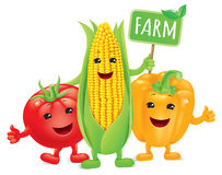 Funny vegetables with board farm Royalty Free Stock Photography