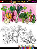 Funny vegetables cartoon for coloring book. Coloring Book or Page Humor Cartoon Illustration of Comic Vegetables Funny Food Objects Group for Children Education Stock Images