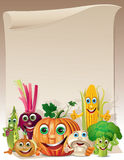 Funny vegetables cartoon company scroll Stock Photo