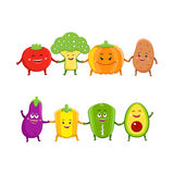 Funny vegetables characters cartoon illustration Stock Image