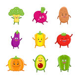 Funny vegetables characters cartoon set Royalty Free Stock Photo