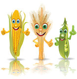 Funny vegetables, corn, ears of corn, peas Stock Photos