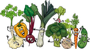 Funny vegetables group cartoon illustration Royalty Free Stock Images