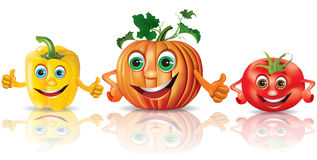 Funny vegetables_paprika, pumpkin, tomato Stock Photo