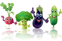 Funny vegetables, radishes, broccoli, eggplant Stock Photo