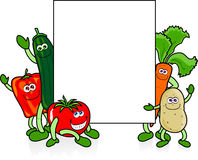 Funny vegetables with sign stock image