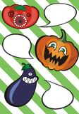 Funny vegetables with speech bubbles Royalty Free Stock Photo