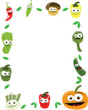 Funny Vegetables Vector Frame. A  frame maiden of funny vegetables, every object is singly grouped Stock Images