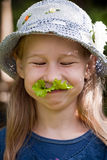 Funny vegetarian girl Royalty Free Stock Images