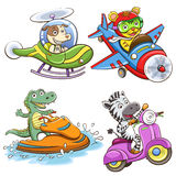 Funny vehicle and animal set. Royalty Free Stock Photography