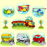 Funny vehicles with background. Stock Photo