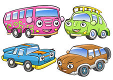 Funny vehicles. Cartoon and vector isolated characters. Stock Photo