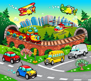 Funny vehicles in the city. Cartoon and vector illustration stock illustration