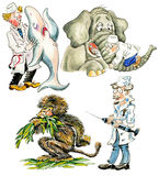 Funny veterinarians. Cartoon veterinarians with different animals Royalty Free Stock Image