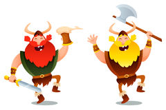Funny viking warriors Stock Images