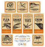 Funny Vintage Halloween Apothecary Labels - Set 02 (vector) Royalty Free Stock Photo