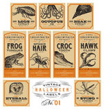 Funny vintage Halloween apothecary labels - set 01 (vector) Royalty Free Stock Images