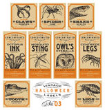 Funny vintage Halloween apothecary labels - set 03 (vector) Stock Photo