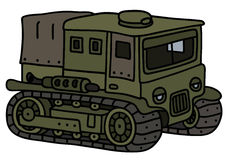 Funny vintage military transporter. Hand drawing of a funny vintage khaki military tracked transporter Royalty Free Stock Photo