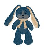 Funny vintage plush rabbit with long ears.  stock illustration