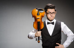 Funny violin player Stock Photos