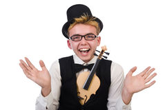 Funny violin player isolated on white Stock Image