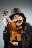 Funny violin player wearing tophat Stock Images