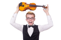 Funny violin player Royalty Free Stock Photography