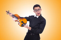 Funny violin player on white Stock Photo