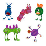 Funny viruses set. Monsters, germs, aliens on white background. Stock Images
