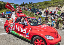 Funny Vittel's Car in Pyrenees. Port de Pailhere,France- 6 July, 2013: Funny car driving on the road to Col de Pailehres (Pyrenees Mountains), promoting Vittel Royalty Free Stock Photography