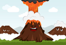 Funny volcano. Funny cartoon volcano vrctor. Illustration. Emotional royalty free illustration