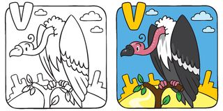 Funny vulture coloring book. Alphabet V Royalty Free Stock Photography