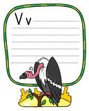 Funny vulture, illustration for ABC. Alphabet V. Children vector illustration of funny vulture sitting high on a branch above the Prairie. Alphabet V. Including Stock Photos