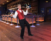 Funny Waiter, Bartender, Alcohol, Lounge Royalty Free Stock Photos