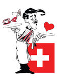 Funny Waiter of Switzerland Cartoon  Royalty Free Stock Image