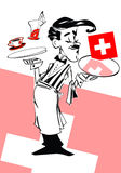 Funny swiss waiter, cartoon style Royalty Free Stock Image