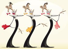Funny waiters with different wines. Royalty Free Stock Images