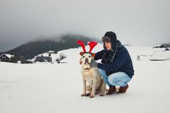 Funny walk with dog in the snowy landscape. Labrador retriever is wearing fake reindeer antlers. Winter season in Jizera Mountains, Czech Republic Stock Photos