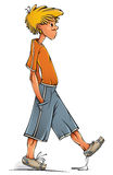Funny walking boy. Funny walking clumsy teenager boy, vector illustration Royalty Free Stock Photography