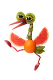 Funny walking heron made of fruits Royalty Free Stock Photography