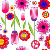 Funny wallpaper with abstract flowers Stock Photo